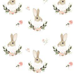Felt Hair Accessories, Print Wallpaper, Rabbit Wallpaper, Rabbit Art, Bunny Art, Pretty Patterns, Paper Background, Cute Wallpapers, Spoonflower