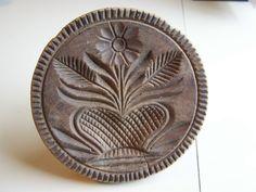 Fine Antique Hand Carved Butter Print Best Heart Flower Basket Butter Stamp | eBay  sold    545.00    ~♥~