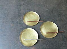菓子皿 + 菓子切り 材質 : 真鍮、銅、洋白