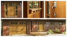 Low-maintenance from the front door to the garage door. Coordinating Clopay Craftsman Collection fiberglass entry door and Canyon Ridge Collection faux wood carriage house style garage door in matching finish. www.clopaydoor.com.