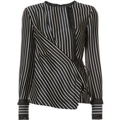 Yigal Azrouel striped wrap blouse (10.458.020 IDR) ❤ liked on Polyvore featuring tops, blouses, black, silk top, yigal azrouel top, silk wrap blouse, wrap blouse and striped silk blouse