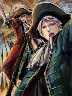 I think it's the anime Hetalia, being Germany and Prussia. Prussia Hetalia, Hetalia England, Hetalia Funny, Hetalia Fanart, All Anime, Anime Guys, Anime Stuff, Gilbert Beilschmidt, Bad Touch Trio