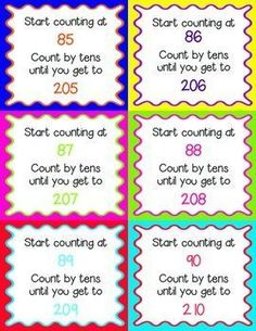 Counting Forward by Tens Task Cards for Grades K-3 ~ The Vivacious Teacher