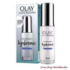 Olay White Radiance Niacinamide Hyaluronic Serum 30ml. Hyaluronic Serum, Radiant Skin, Olay, How To Know, Vodka Bottle
