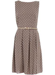 Taupe bird box pleat dress