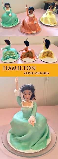 Cakes I designed and made of the Schuyler sisters from Hamilton: An American Musical!  Angelicaaa = orange velvet cake + lime curd filling;  Eliiiza = blue vanilla cake + pink vanilla buttercream icing;  and Peggy = lemon cake with raspberry lemon curd filling
