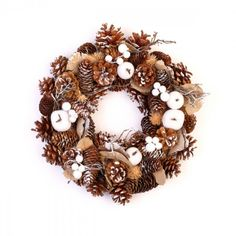 """Love this Kaemingk 13"""" Unlit Frosted Pinecone Christmas Wreath, great for fall and winter!"""
