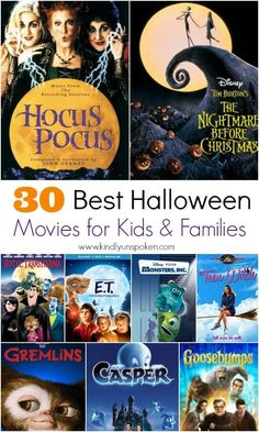 Grab some popcorn and check out my list of the 30 Best Halloween Movies for Kids and Families to watch this fall! These non-spooky halloween movies are perfect for both kids and adults. to watch The Best Halloween Movies for Kids and Families Animated Halloween Movies, Classic Halloween Movies, Halloween Movies To Watch, Halloween Movies List, Halloween Movie Night, Halloween Quotes, Popular Halloween Movies, Classic Scary Movies, Halloween Poster