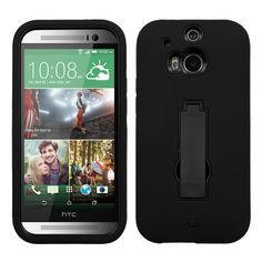MYBAT Symbiosis Stand Protector Case for HTC One (M8) - Black/Black