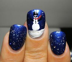 Christmas nail idea. NYC Skin Tight Denim, Billie Silver, Wet n Wild Kaleidoscope and Black Creme