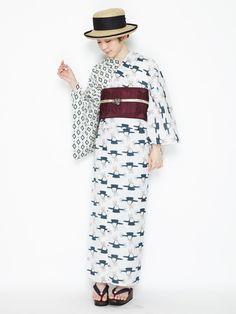 ふりふオリジナルゆかた【浜辺のモダンガール】(片身合わせ) 商品画像