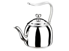 Korkmaz Droppa Quart High-End Stainless Steel Induction-Ready Teapot Tea Kettle with Tri-Ply Encapsulated Base Quart), Silver