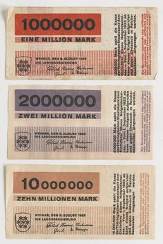 10 Banknotes, designed for the State Bank of Thuringia. each: 2 x 5 x 14 cm). State Government of… Typography Letters, Typography Design, Lettering, Money Template, Herbert Bayer, Laszlo Moholy Nagy, Passport Card, Money Notes, Bauhaus Design