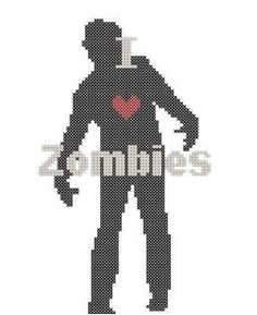 Zombie cross stitch pattern in PDF format. $5.00, via Etsy.