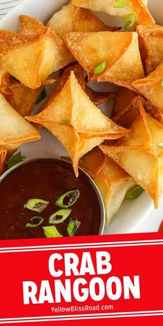 Crab Rangoon are fried wontons with a delicious crab and cream cheese filling. They are a Chinese takeout favorite that you can easily make at home! #crabrangoon #chinesefood #homemadechinesefood Finger Food Appetizers, Appetizer Recipes, Snack Recipes, Dinner Recipes, Canned Crab Meat, Homemade Chinese Food, Chinese Lemon Chicken, Crispy Wonton, Best Party Food