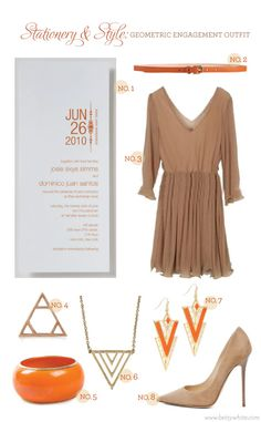Stationery & Style: Geometric Engagement Outfit