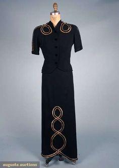 Augusta Auctions, October 2008 Vintage Clothing & Textile Auction, Lot 773: Black  Gold Evening Gown  Jacket, 1940s