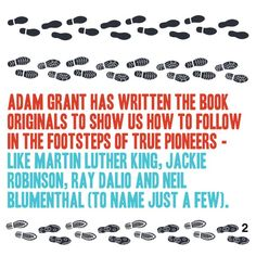 The main concepts from the book Originals, delightfully delivered in a beautiful 60 second package. Get the version of this book by singing up for a free account at www. Adam Grant, Ray Dalio, Personal Development Books, Jackie Robinson, Martin Luther King, Thing 1 Thing 2, The Book, Something To Do, Leadership
