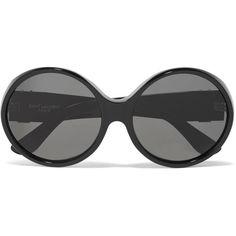 Saint Laurent Oversized round-frame acetate sunglasses (19,555 DOP) ❤ liked on Polyvore featuring accessories, eyewear, sunglasses, glasses, black, beach sunglasses, round sunglasses, yves saint laurent glasses, oversized glasses and round frame sunglasses