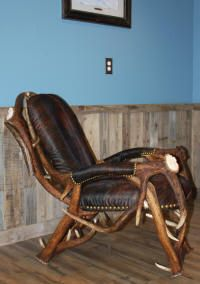 Handcrafted antler furniture including chairs, stools, and benchs made from moose, deer, elk, and caribou antler.