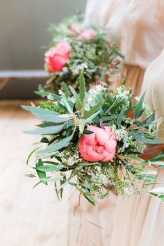 Loose eucalyptus and peony bouquets. Photography: Anouschka Rokebrand Photography - www.anouschkarokebrand.com
