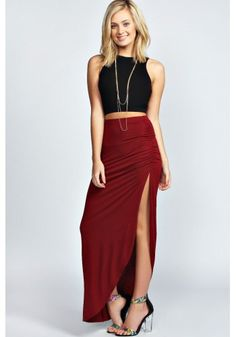 Black Top and Irregular Split Dress Outfit$23.99 https://www.maxfancy.com/dresses/Maxi-and-Skater-Skirt-Outfits/Sleeveless-Black-Top-and-Irregular-Side-Split-Dress-2-Piece-Set-MFMDLC826