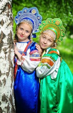 "Two Russian girls in traditional costumes and in  headdresses ""Kokoshnik"". #kids"
