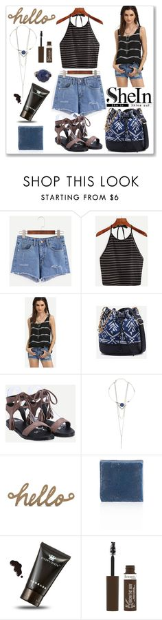 """Shein Denim Shorts"" by ludmyla-stoyan ❤ liked on Polyvore featuring Rimmel and Bottega Veneta"