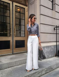 office style // white wide leg pants + chambray shirt for work  wear