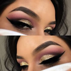 Gold and purple glitter winged liner IG: Vmariexoxo_