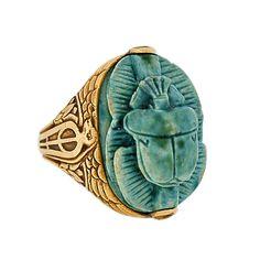 A Brandt and Son - Art Deco 14kt Faience Scarab Ring w/Bird & Flower Motif