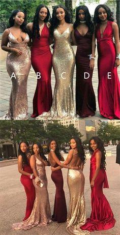 2017 Cheap Mismatched V Neck Sexy Mermaid Bridesmaid Dresses, Popular Prom Dress, PD0367