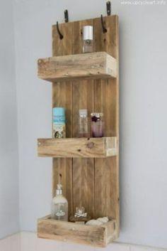 Rustic Wood Bathroom: Rustic Bathroom Shelves Made From Reclaimed Pallet Wood