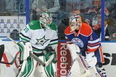 Dan Ellis #30 Dallas Stars and Jason LaBarbera #1 Edmonton Oilers