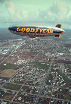 Flying in the Goodyear Blimp.no longer a bucket list item, thanks to our friend, Andy. Zeppelin, Goodyear Blimp, Ill Fly Away, Akron Ohio, Vintage Airplanes, City Of Angels, Transporter, Mayan Ruins, Air Travel