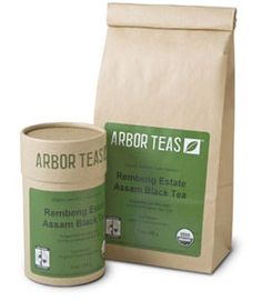 Organic tea packaging. Brown bag. Two-color design. Text in condensed sans-serif typefaces. All elements gives a sense of conciseness.