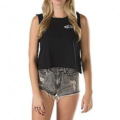 VANS | Authentic skate crop muscle tank top Black