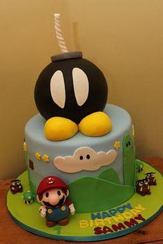 Mario themed cake with Bob-omb