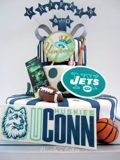 Custom designed birthday cake for a Sports Enthusiast! Each tier of this cake represents a favorite sport, and the man's favorit. 40 Birthday, 40th Birthday Cakes, Adult Birthday Party, 40th Bday Ideas, Birthday Ideas, Crazy Cakes, Cake Creations, Amazing Cakes, Eat Cake