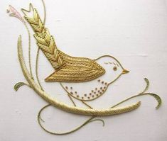Look at this beautiful little goldwork bird. If you'd like to learn goldwork from British institution Hand & Lock, take a look here: https://www.mastered.com/courses/22 £80 special pre-order price.