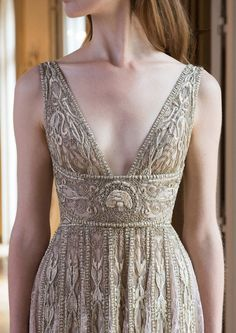 V-necked wedding gown in antique gold with absolutely stunning embroidery patterns // We're lost in reverie looking at Paolo Sebastian's … Beautiful Gowns, Beautiful Outfits, Paolo Sebastian, Look Fashion, Fashion Design, Prom Dresses, Formal Dresses, Couture Dresses, Couture Clothes