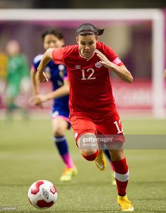 Christine Sinclair of Canada runs with the ball during Women's International Soccer Friendly Series action against Japan on October 2014 at BC Place Stadium in Vancouver, British Columbia, Canada. Canada Soccer, Portland Thorns, International Soccer, Female Athletes, Skating, Olympics, Kicks, June, Running