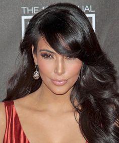 kim kardashian hair style swoop bangs long layers dark brown/black hair