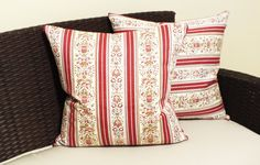 Add a pop of color and vintage look to your decor with this Regency stripe square throw pillow. This decorative square pillow features timeless Regency stripe pattern in cream and wine red hues.  Handmade in my smoke-free and pet-free studio.  All seams are serged and double stitched for durability and professional finish Front material - Cotton / polyester blend  Backing - same as front  Hidden zipper enclosure for a tailored look  Square shape, 19(W) x 19 (L)  Machine wash (delicate cy...