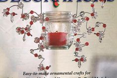 "From Family Fun Magazine - hanging votive candle holder - using a wire clothes hanger. snip bottom of hanger off and make hooks at the end of each arm. make hanging loops in the end of 2 lengths of 18"" florist wire by wrapping the end around a pencil and then wrapping the length of wire around jar and twisting around loop. repeat on other side of jar. add extra lengths of wire as desired. decorate wire with beads and loop around pencil as desired. Attach hanger to wire loops to hang."