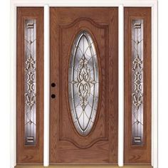 Feather River Doors 37.5 in. x 81.625 in. Silverdale Brass 3/4 Oval Lite Stained Cherry Mahogany Fiberglass Prehung Front Door-C11505 - The Home Depot