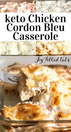 keto This Chicken Cordon Bleu Casserole is quick and easy. It has shredded chicken, ham, and swiss in a creamy dijon sauce. It will replace traditional breaded chicken with no regrets. It is low Poulet Keto, Cena Keto, Chicken Ham, Breaded Chicken, Grilled Chicken, No Carb Meals Chicken, Chicken Recipes No Carbs, Cooked Chicken, White Chicken