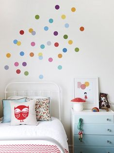 We all know how difficult it is to decorate a kids bedroom. A special place for any type of kid, this Shop The Look will get you all the kid's bedroom decor ide Polka Dot Wall Decals, Polka Dot Walls, Wall Stickers, Polka Dots, Confetti Wall, Deco Kids, The Design Files, Little Girl Rooms, Kid Spaces