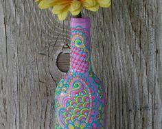 Wine bottle Vase Henna Influenced Design by LucentJane on Etsy
