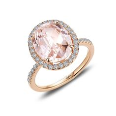 Morganite Ring by LAFONN set in 18K Rose Gold-Bonded Sterling Silver with Simulated Diamonds, MSRP $175.